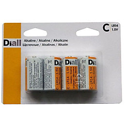 Diall C Alkaline Battery, Pack of 4