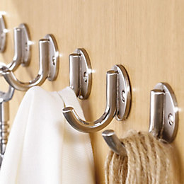 B&Q Chrome Effect Steel Cup Hooks, Pack of