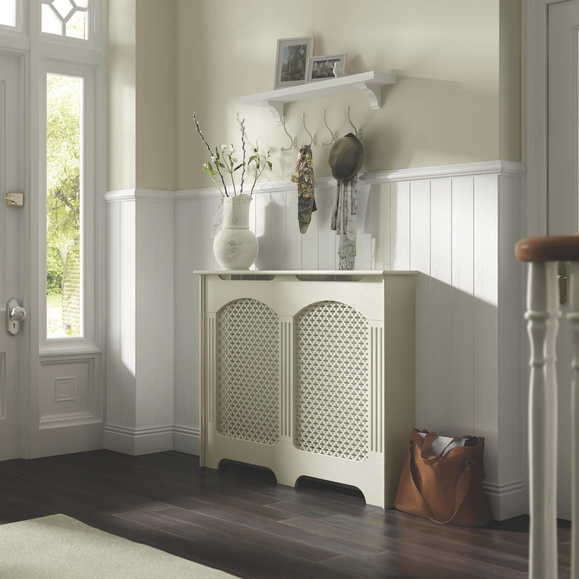 Cambridge Medium White Painted Radiator Cover | Departments | DIY at B&Q