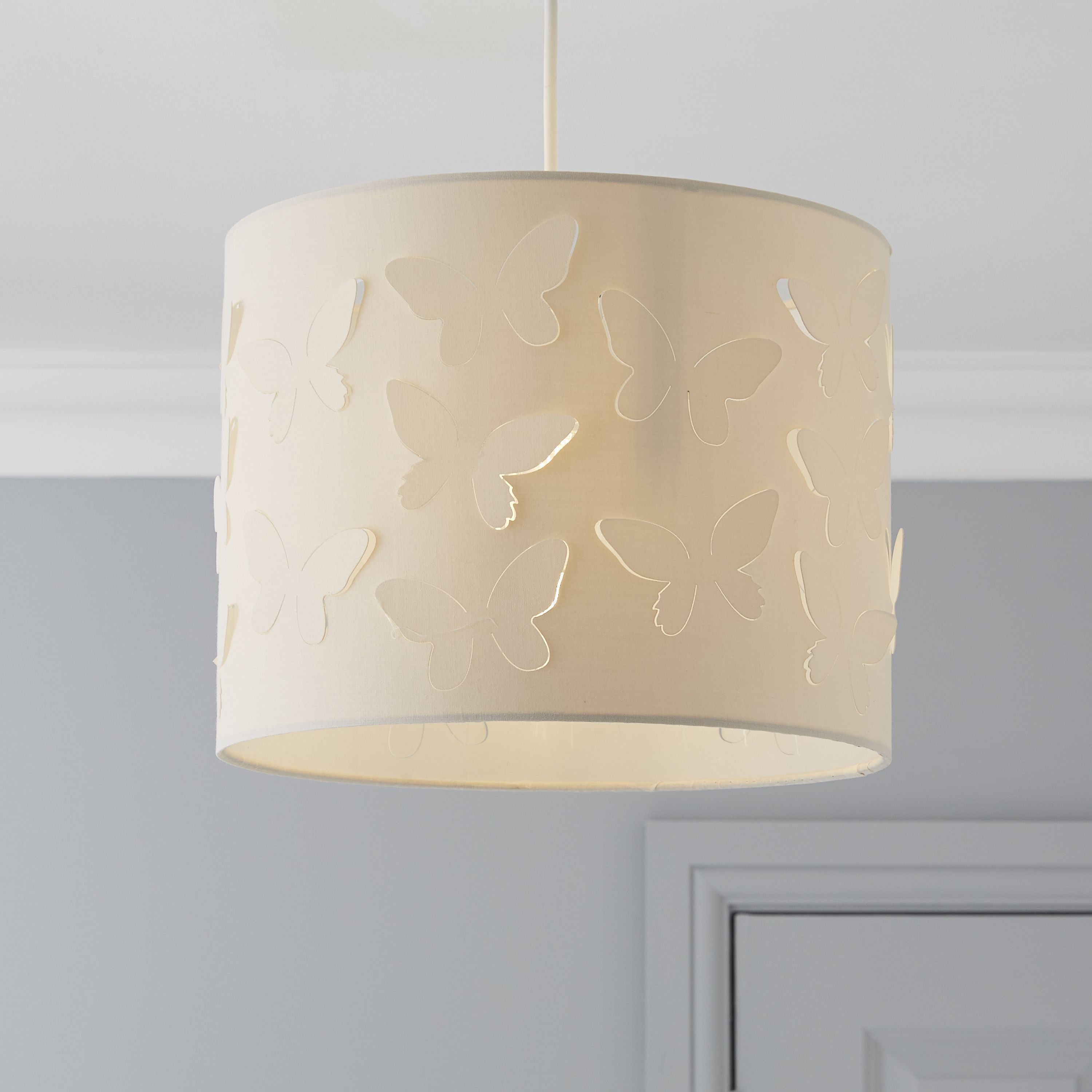 Large cut out dome metal lighting pendant shades cream - Colours Carriera Cream Butterfly Cut Out Light Shade D 30cm