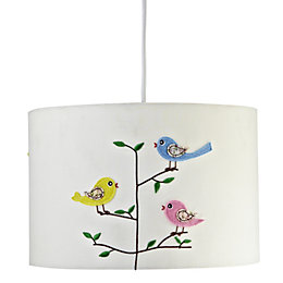 Colours Rosalba White Embroidered Bird Light Shade (D)11.8cm