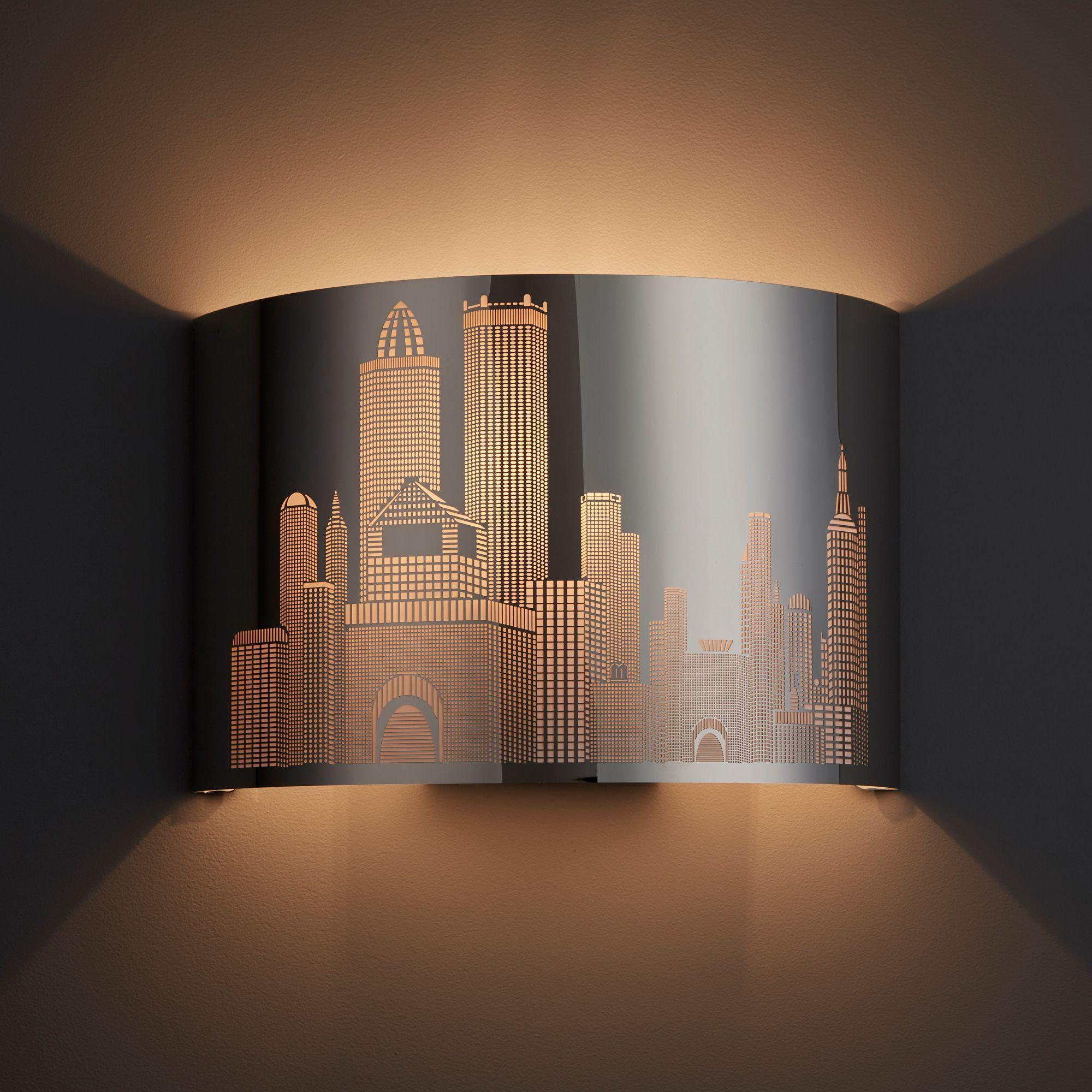 New York Skyline Stainless Steel Effect Single Wall Light
