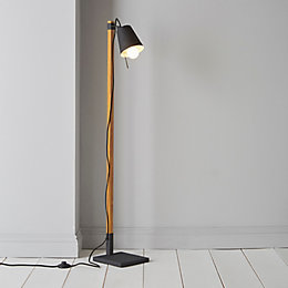 Liber Black Wood Effect Floor Lamp