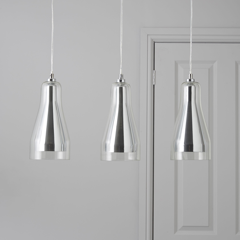 Guardi Glass Droplet Chrome Effect 3 L& Pendant Ceiling Light | Departments | DIY at Bu0026Q. & Guardi Glass Droplet Chrome Effect 3 Lamp Pendant Ceiling Light ... azcodes.com