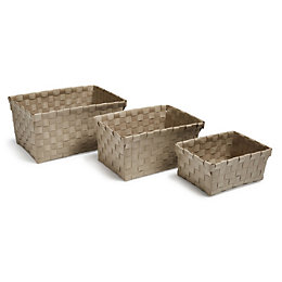 Timali Taupe Plastic Basket, Set of 3