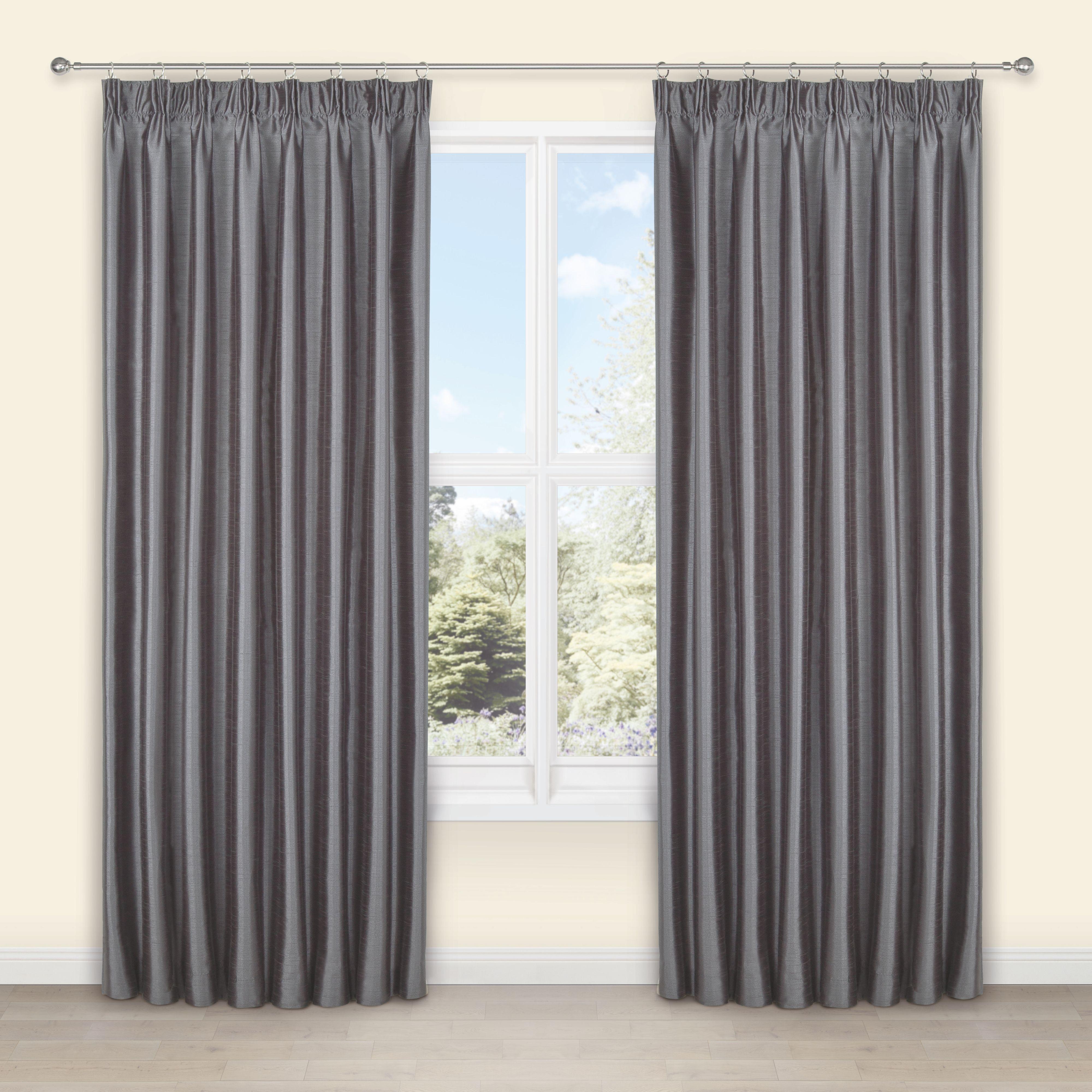 Villula Anthracite Plain Faux Silk Pencil Pleat Lined Curtains (w)228 Cm (l)228 Cm