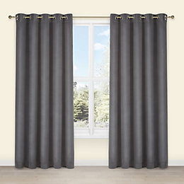 Theleme Anthracite Plain Velvet Eyelet Lined Curtains (W)228cm