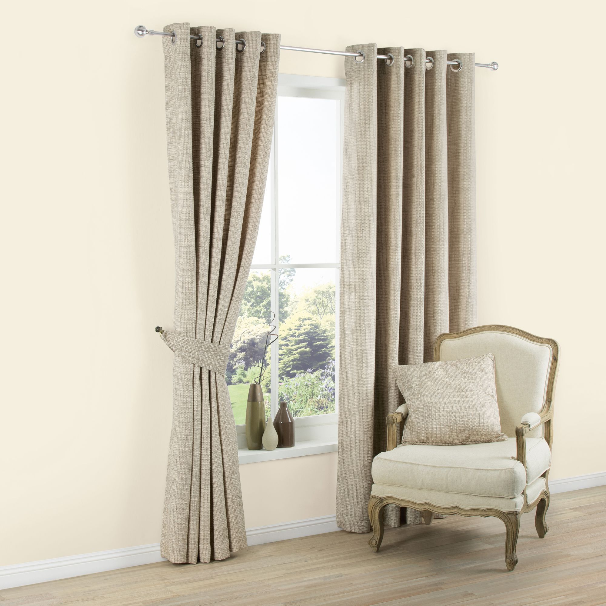 Carina Ecru & Seine Plain Woven Eyelet Lined Curtains (w)117 Cm (l)137 Cm