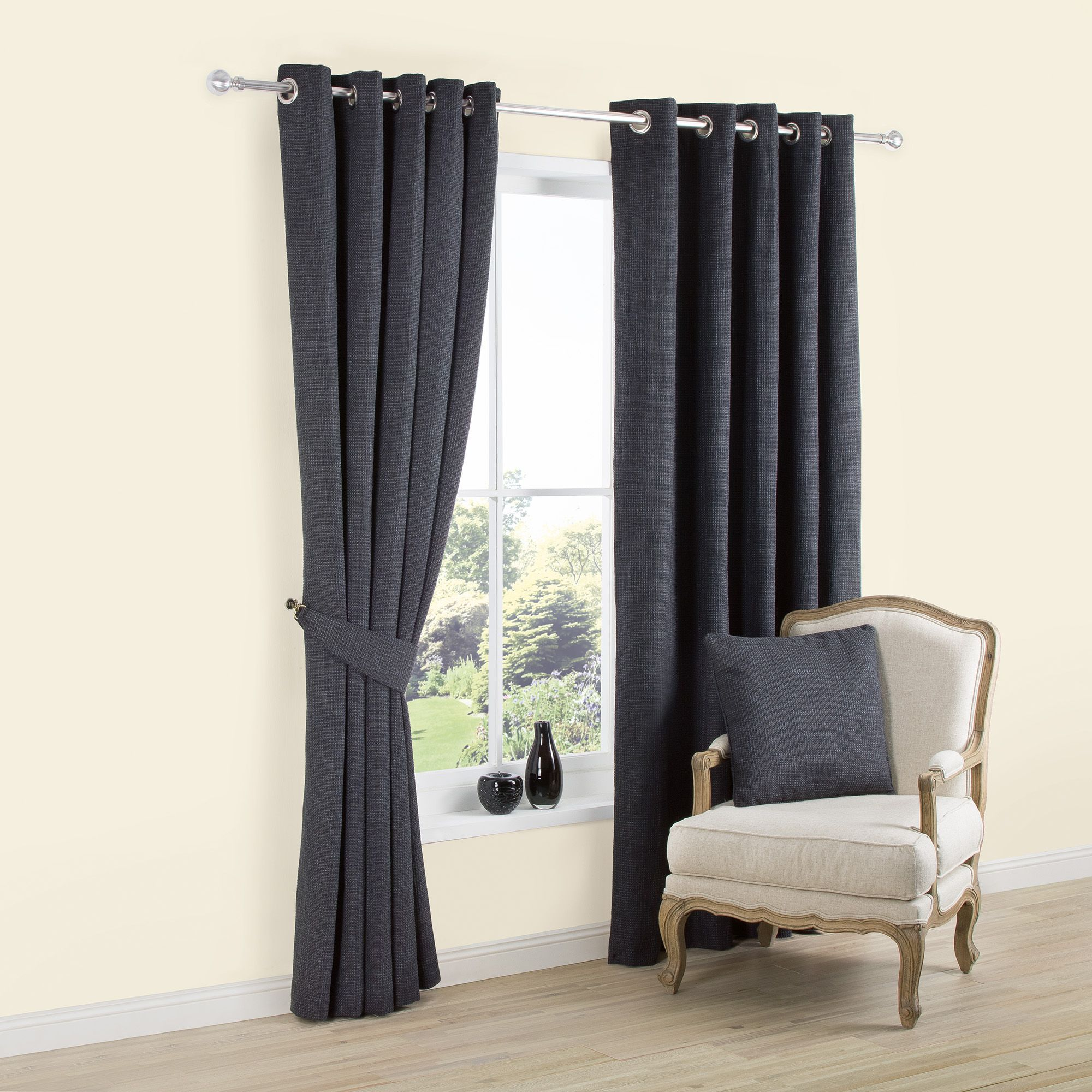 Carina Charcoal Plain Woven Eyelet Lined Curtains (w)167 Cm (l)183 Cm