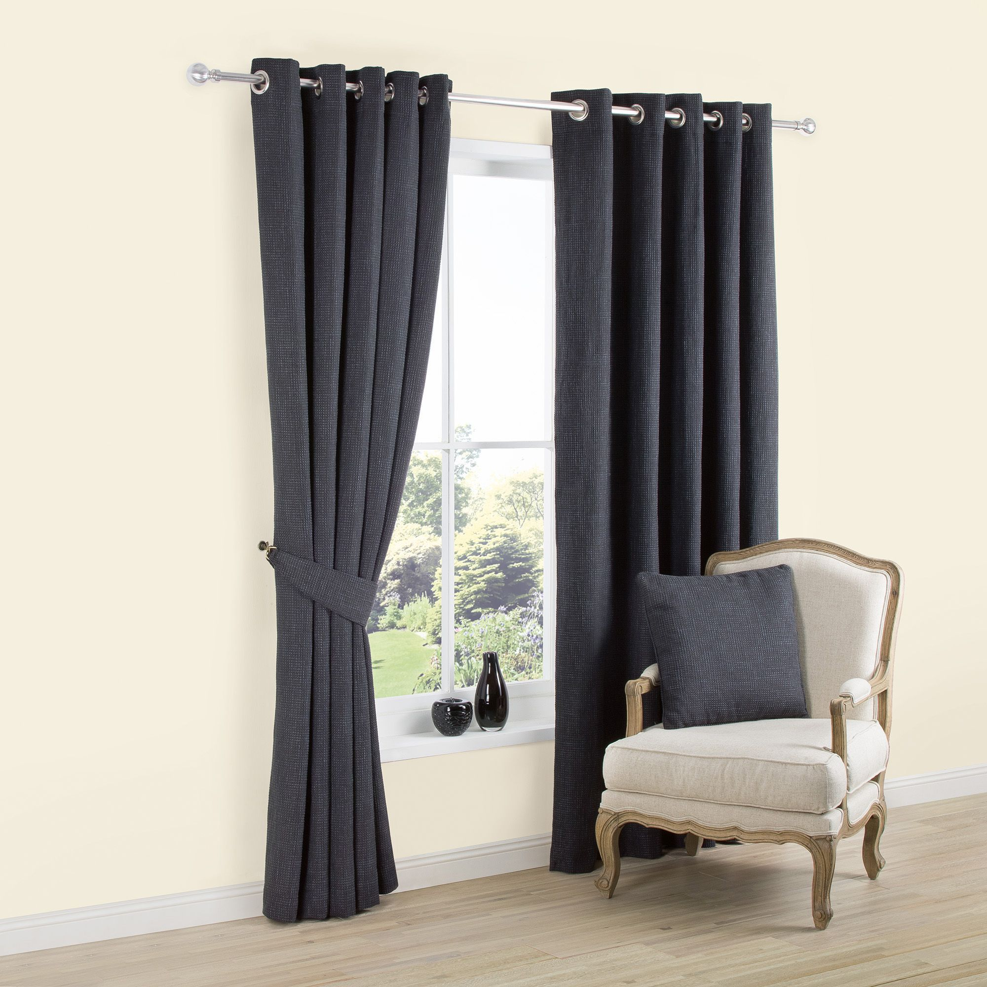 Carina Charcoal Plain Woven Eyelet Lined Curtains (W)167 cm (L)228 cm    Departments   DIY at B&Q