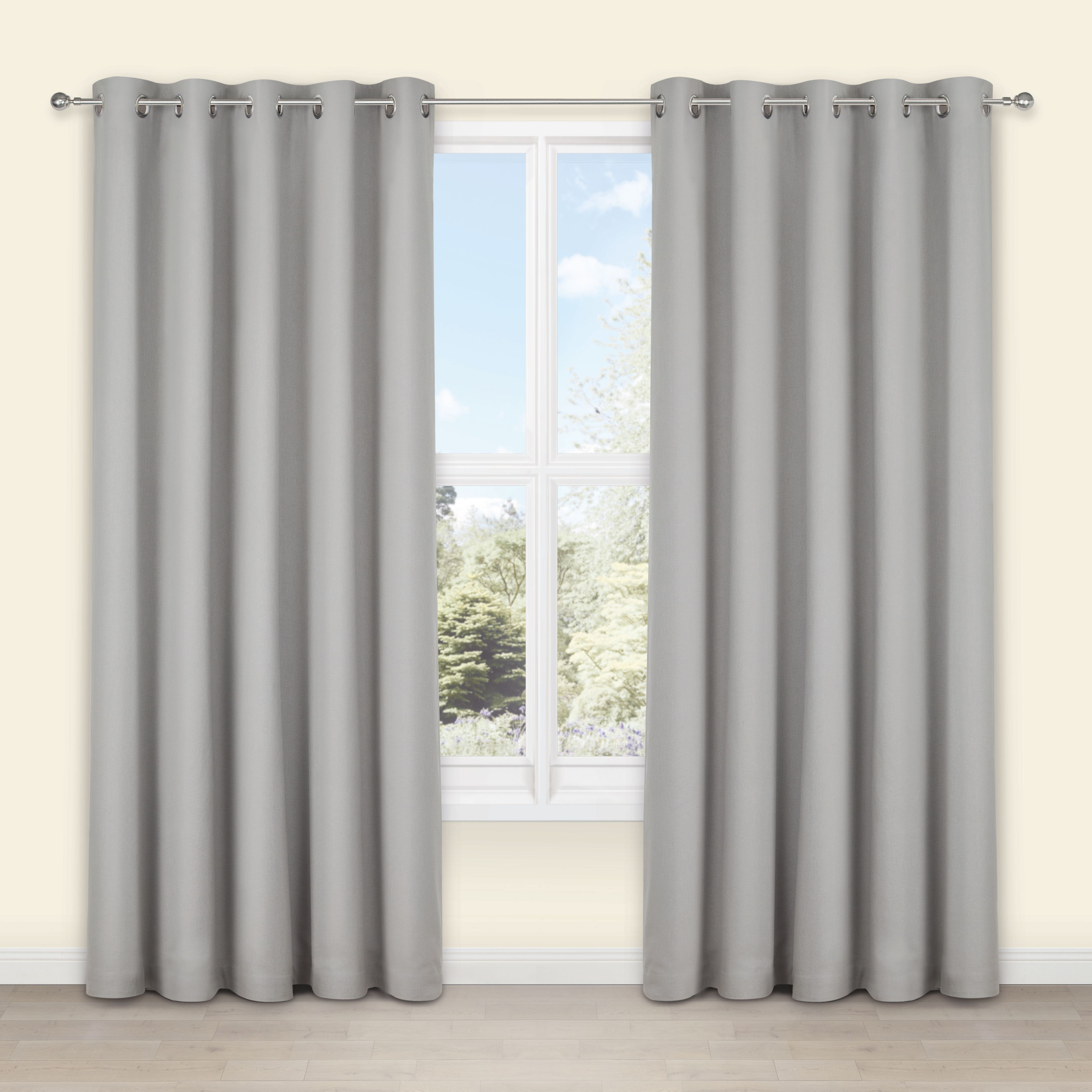 Eyelet Bedroom Curtains Salla Concrete Plain Woven Eyelet Lined Curtains W 117cm L 137cm