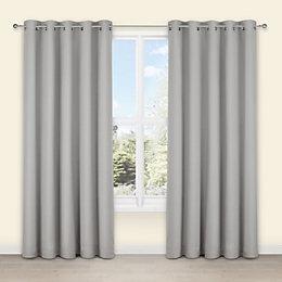 Salla Concrete Plain Woven Eyelet Lined Curtains (W)167cm