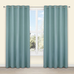 Salla Duck Egg Plain Woven Eyelet Lined Curtains