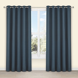 Salla Denim Plain Woven Eyelet Lined Curtains (W)228cm