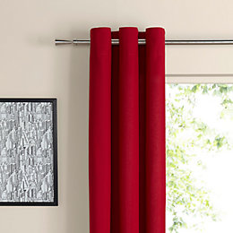 Zen Strawberry Plain Eyelet Curtains (W)117cm (L)137cm