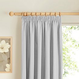 Prestige Ecru Plain Pencil Pleat Lined Curtains (W)117cm