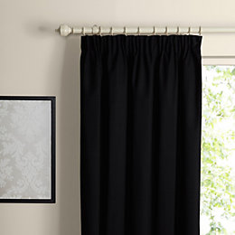 Prestige Black Plain Pencil Pleat Lined Curtains (W)117cm