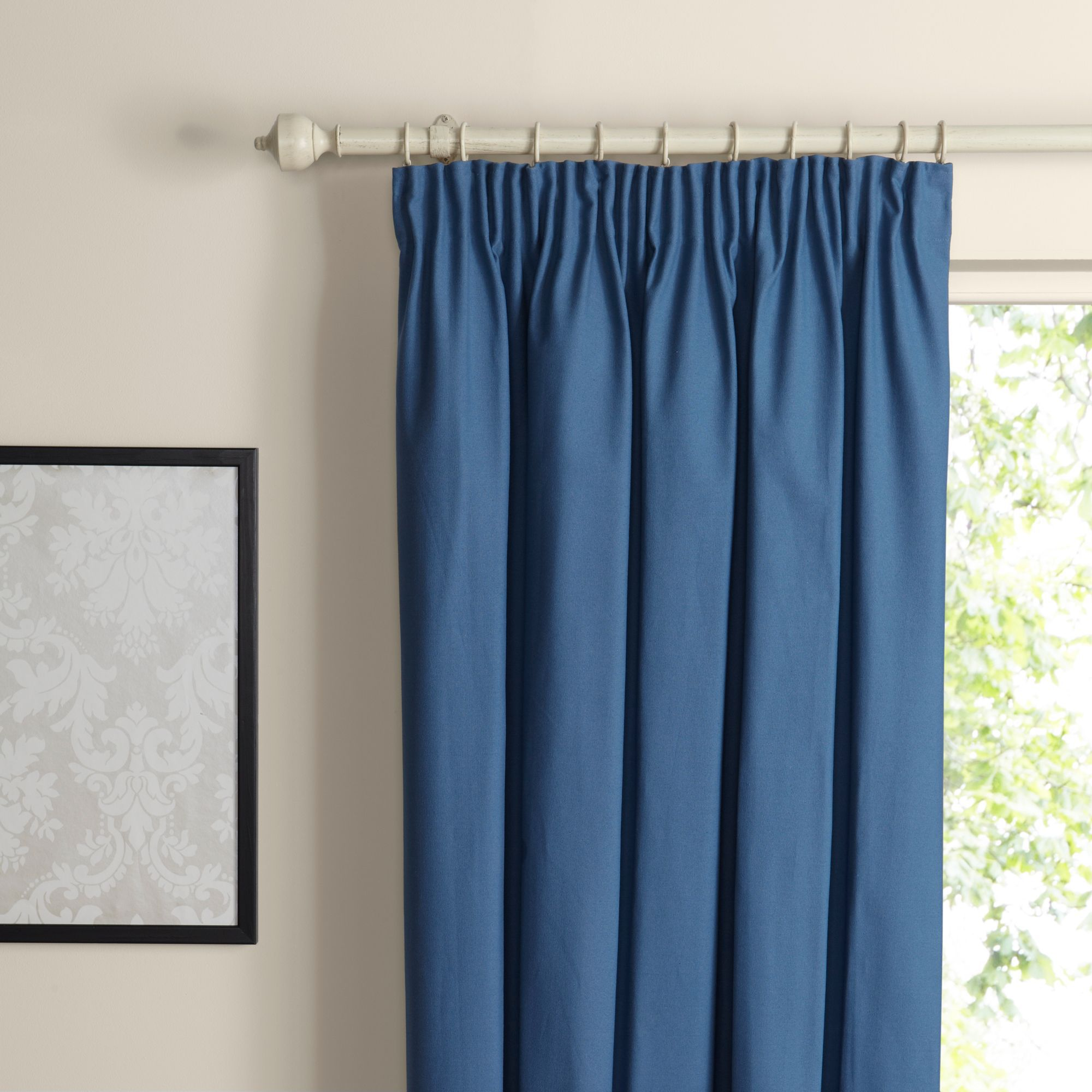 Prestige Blue Smoke Plain Pencil Pleat Lined Curtains