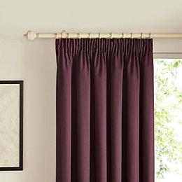 Prestige Blueberry Plain Pencil Pleat Lined Curtains (W)228cm