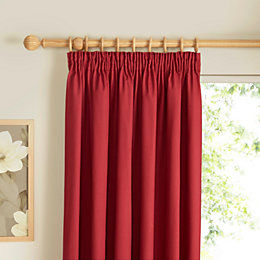 Prestige Strawberry Plain Pencil Pleat Lined Curtains (W)117cm