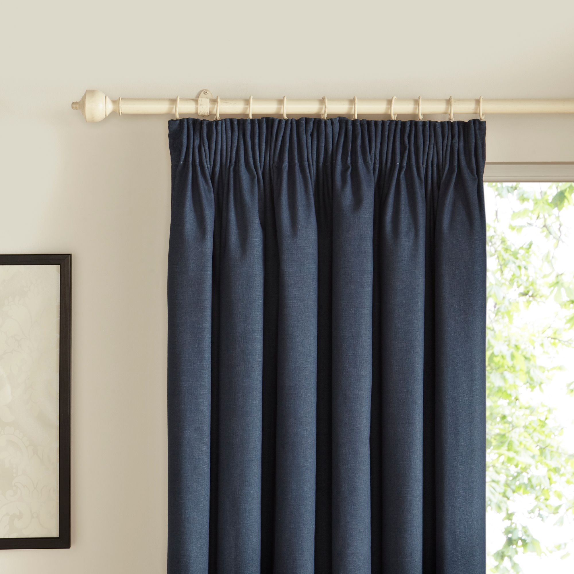 Prestige Denim Plain Pencil Pleat Lined Curtains (W)117cm