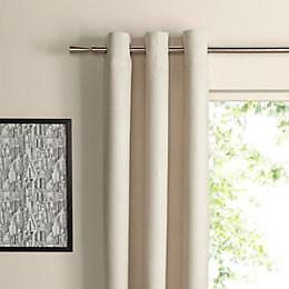 Suedine Ecru Plain Woven Eyelet Curtains (W)167cm (L)228cm