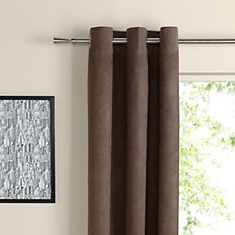 Suedine Chocolate Plain Woven Eyelet Curtains (W)167cm (L)228cm