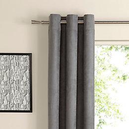 Suedine Concrete Plain Woven Eyelet Curtains (W)167cm (L)228cm