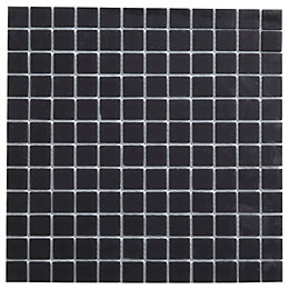 Frosted Glass Black Glass Mosaic Tile, (L)300mm (W)300mm