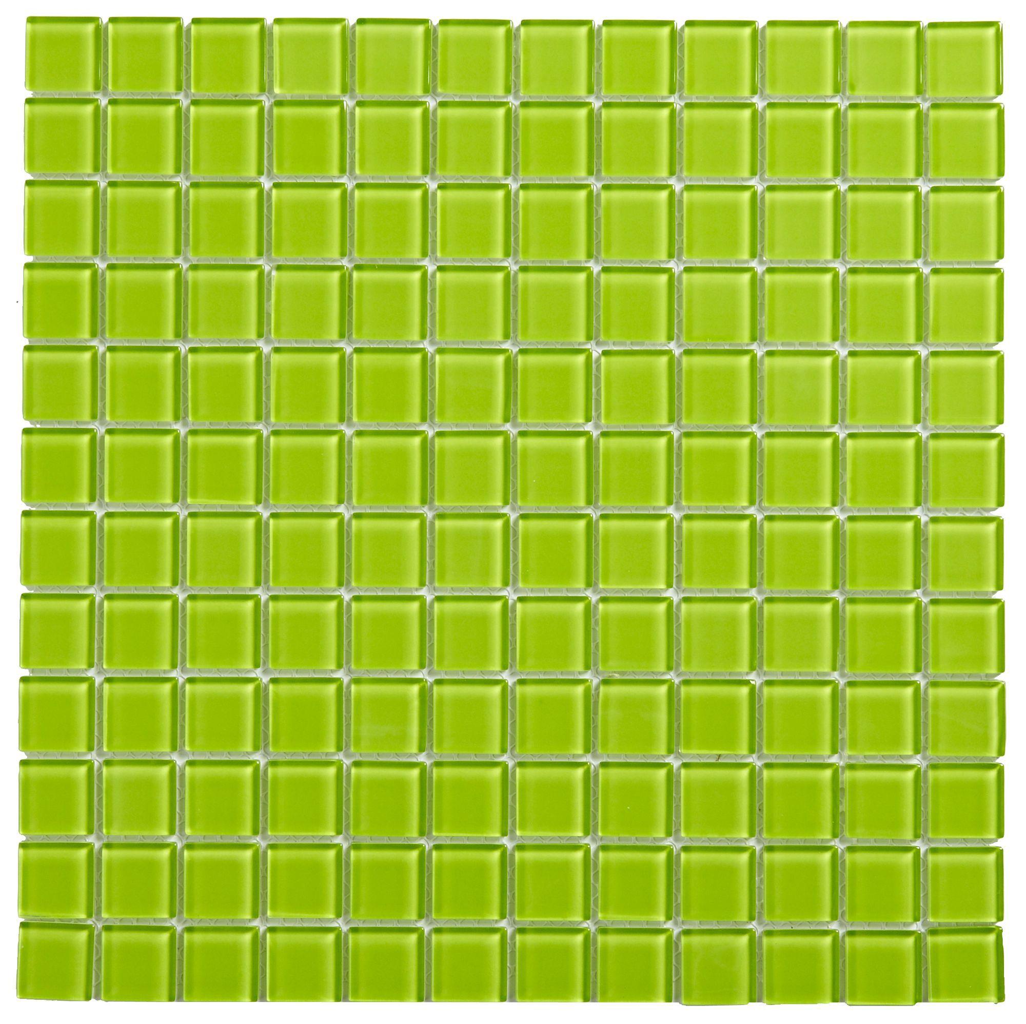 lime glass mosaic tile l 300mm w 300mm departments. Black Bedroom Furniture Sets. Home Design Ideas