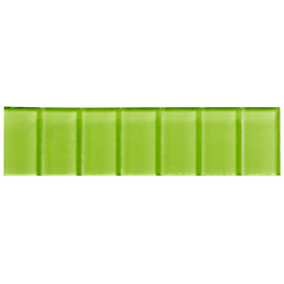 Lime Scored Glass Border Tile, (L)200mm (W)50mm