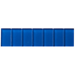Blue Scored Glass Border Tile, (L)200mm (W)50mm