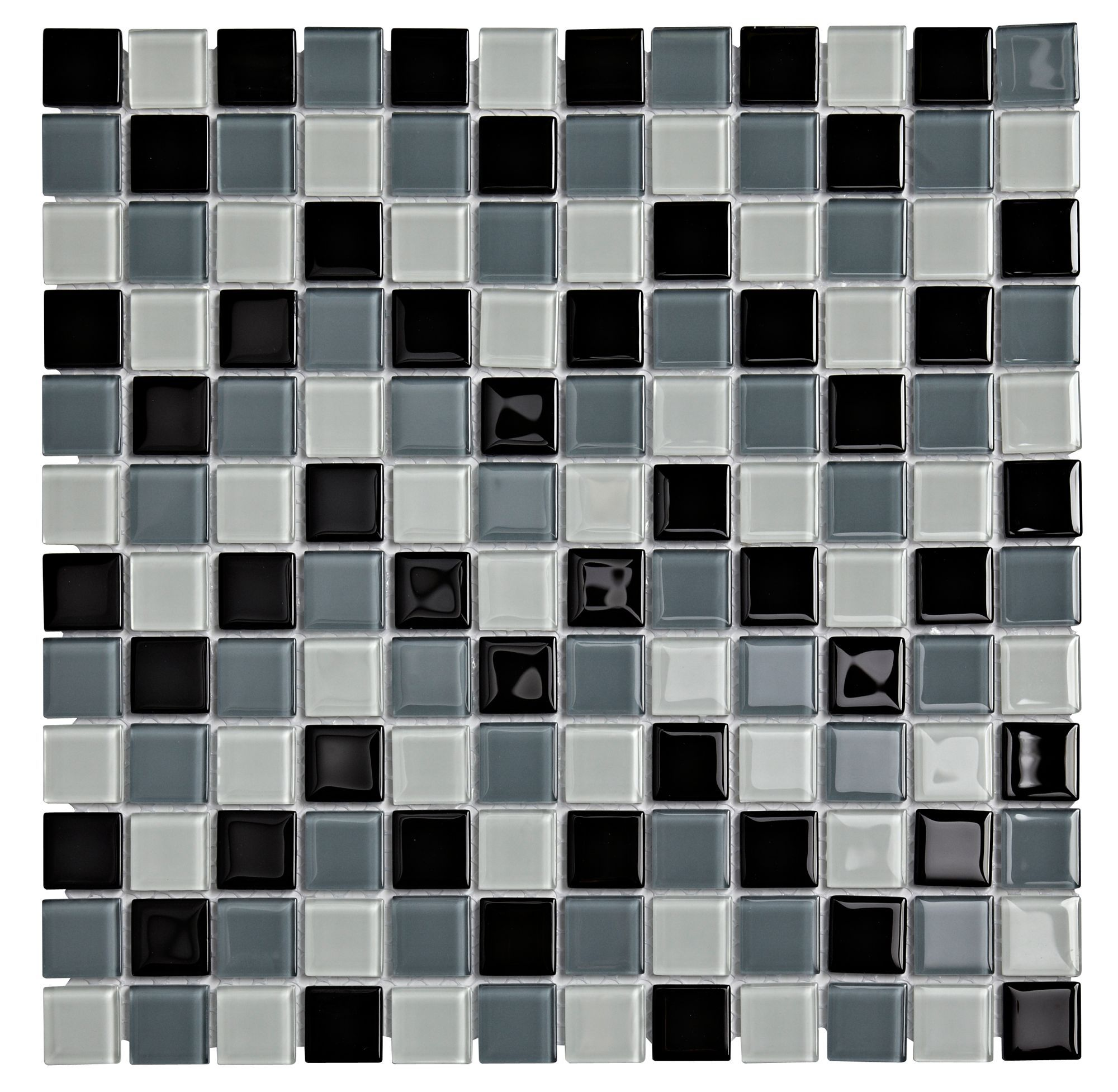 B Q Tile Cutter: Multi Glass Black Glass Mosaic Tile, (L)300mm (W)300mm