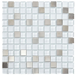 Grey Glass & Stainless Steel Mosaic Tile, (L)300mm
