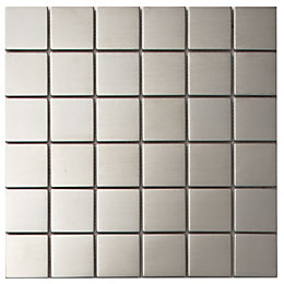 Silver Stainless Steel Mosaic Tile, (L)300mm (W)300mm