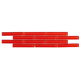 Red Mosaic Glass Border Tile, (L)454mm (W)106mm