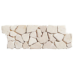 White Mosaic Marble Border Tile, (L)300mm (W)100mm