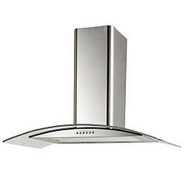 Cooke & Lewis CLGCH90-C Curved Glass Cooker Hood,