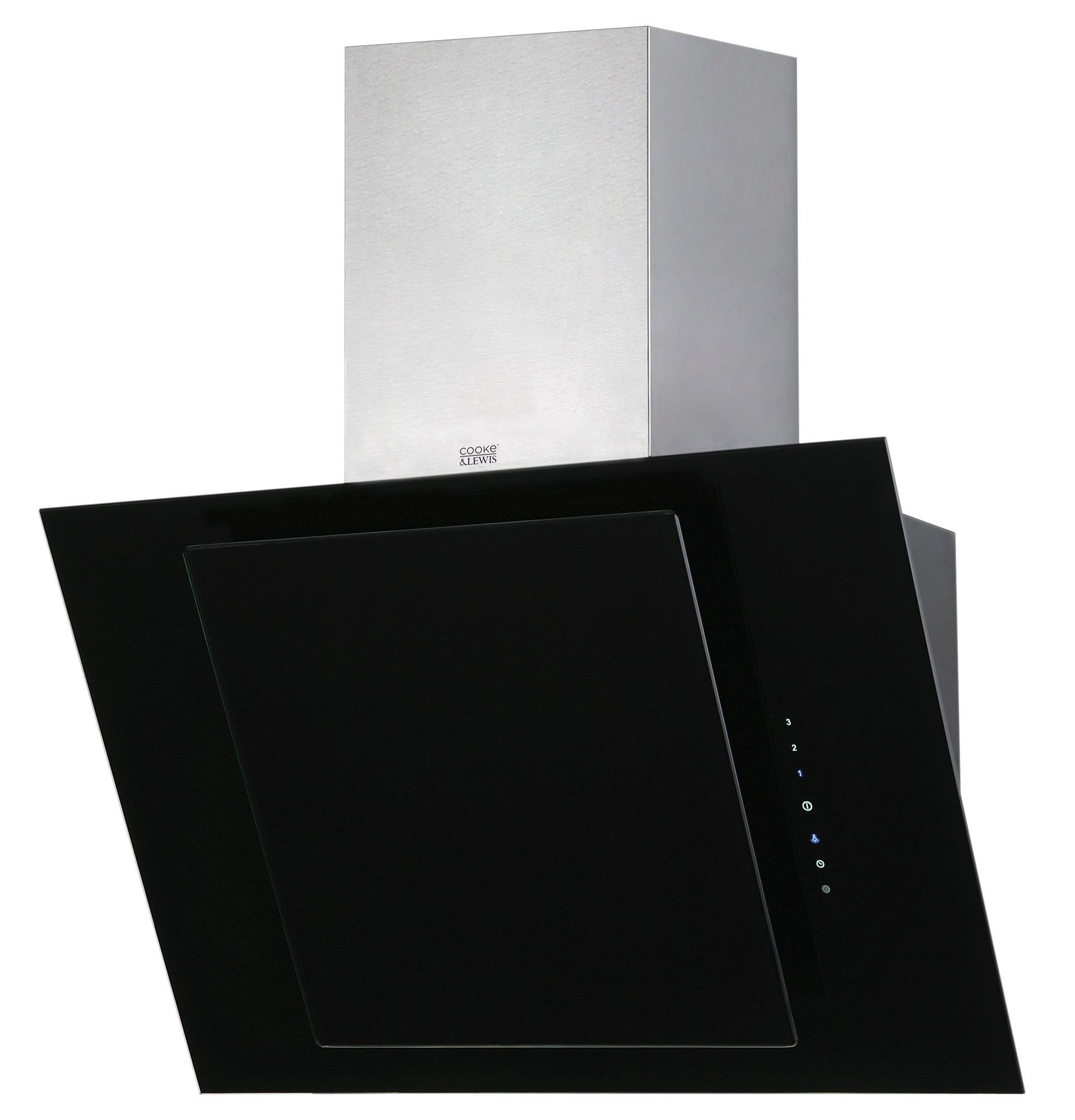 cooke lewis clthal60 c black stainless steel angled. Black Bedroom Furniture Sets. Home Design Ideas