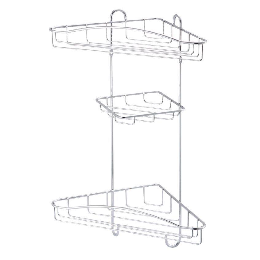 Cooke & Lewis Lauro Chrome Effect Steel Corner Shower Caddie