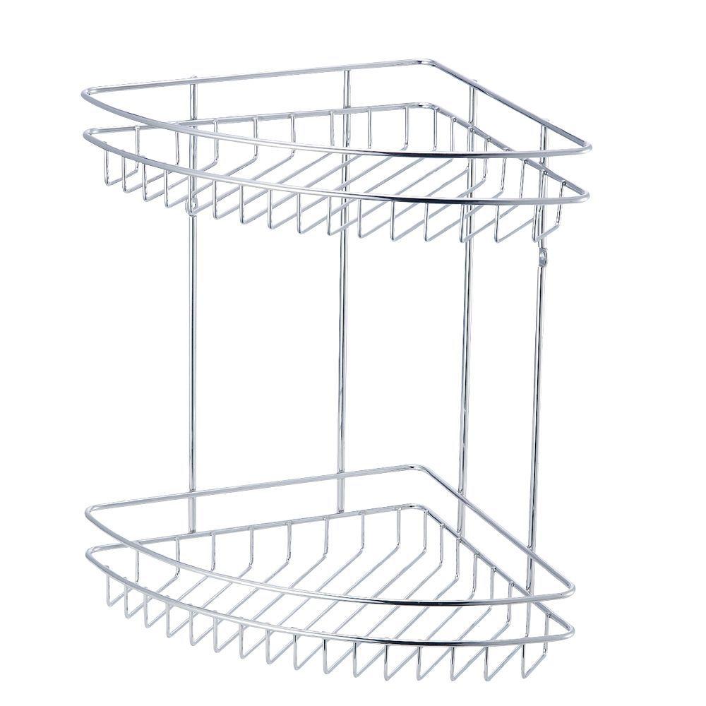 Cooke & Lewis Menta Chrome Effect Steel Corner Shower Caddie