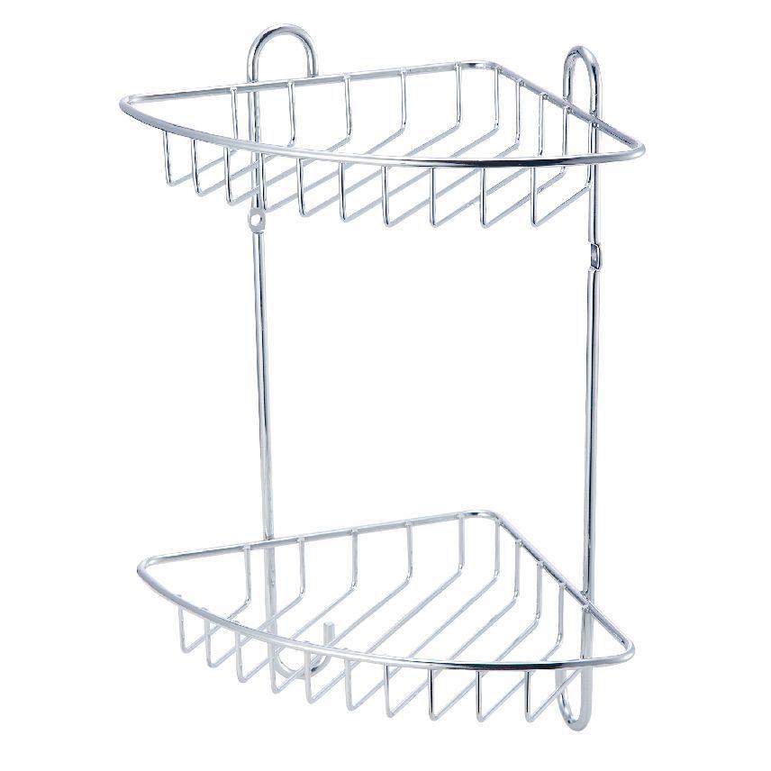 Cooke & Lewis Sauro Chrome Effect Steel Corner Shower Caddie