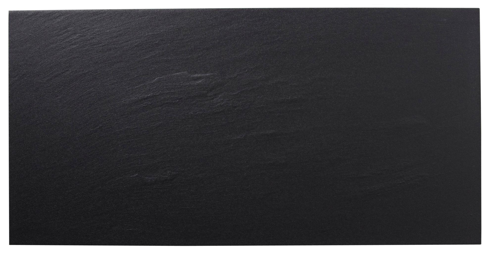 Slate Effect Black Stone Effect Porcelain Wall & Floor Tile, Pack Of 6, (l)300mm (w)600mm