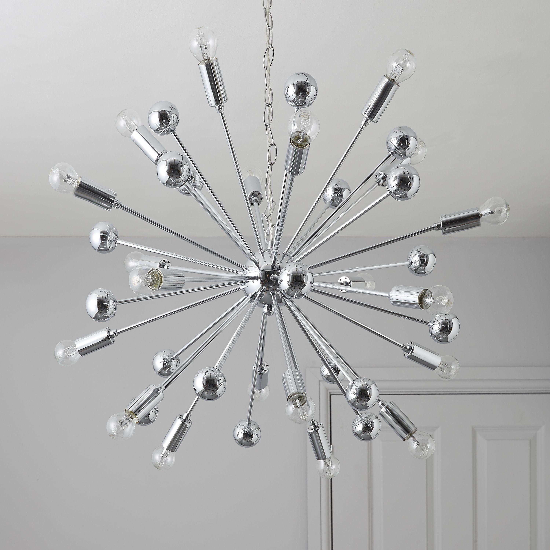 Bathroom Ceiling Lights At B&Q komet spherule chrome effect 20 lamp pendant ceiling light