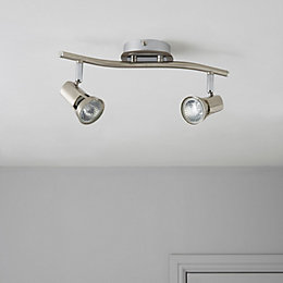 Cirrus Nickel Effect 2 Lamp Bar Spotlight