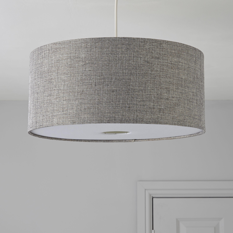 burnett grey drum light shade d 40cm departments diy at b q