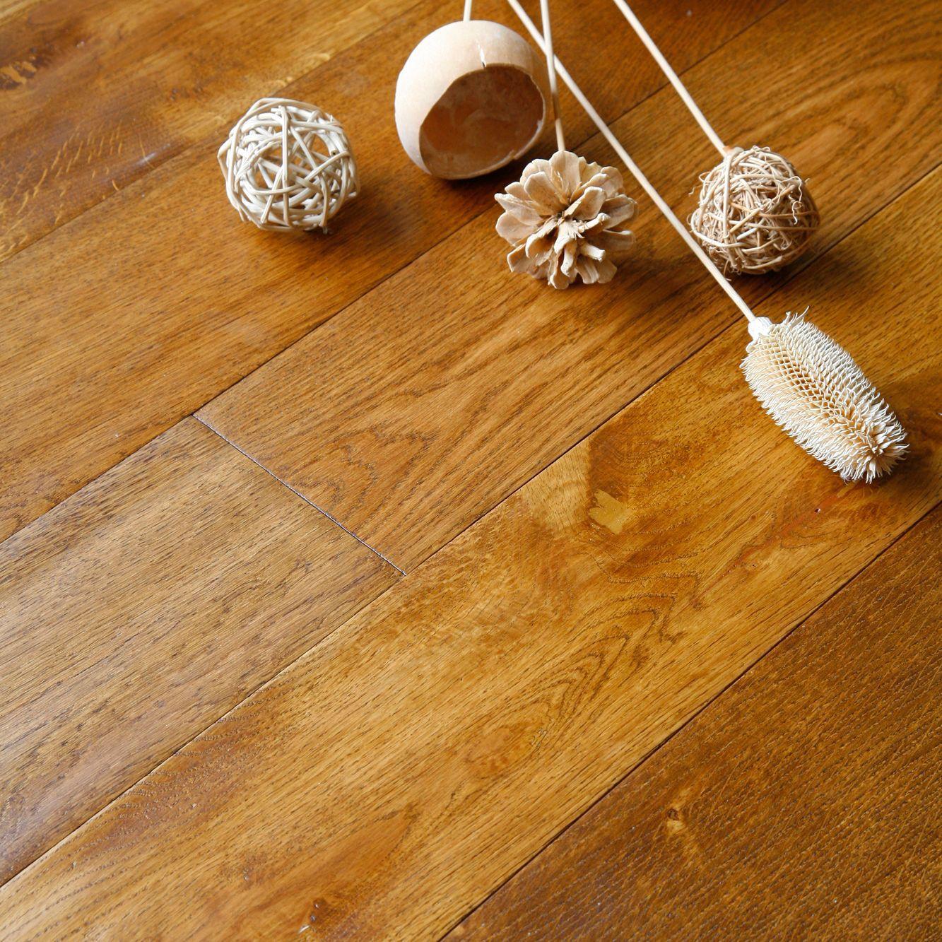Colours Rondo Wheat Solid Oak Flooring Oak Effect 1.18m² Pack