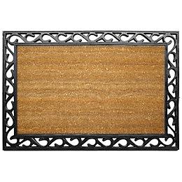 Diall Black & Natural Coir Door Mat (L)0.9m