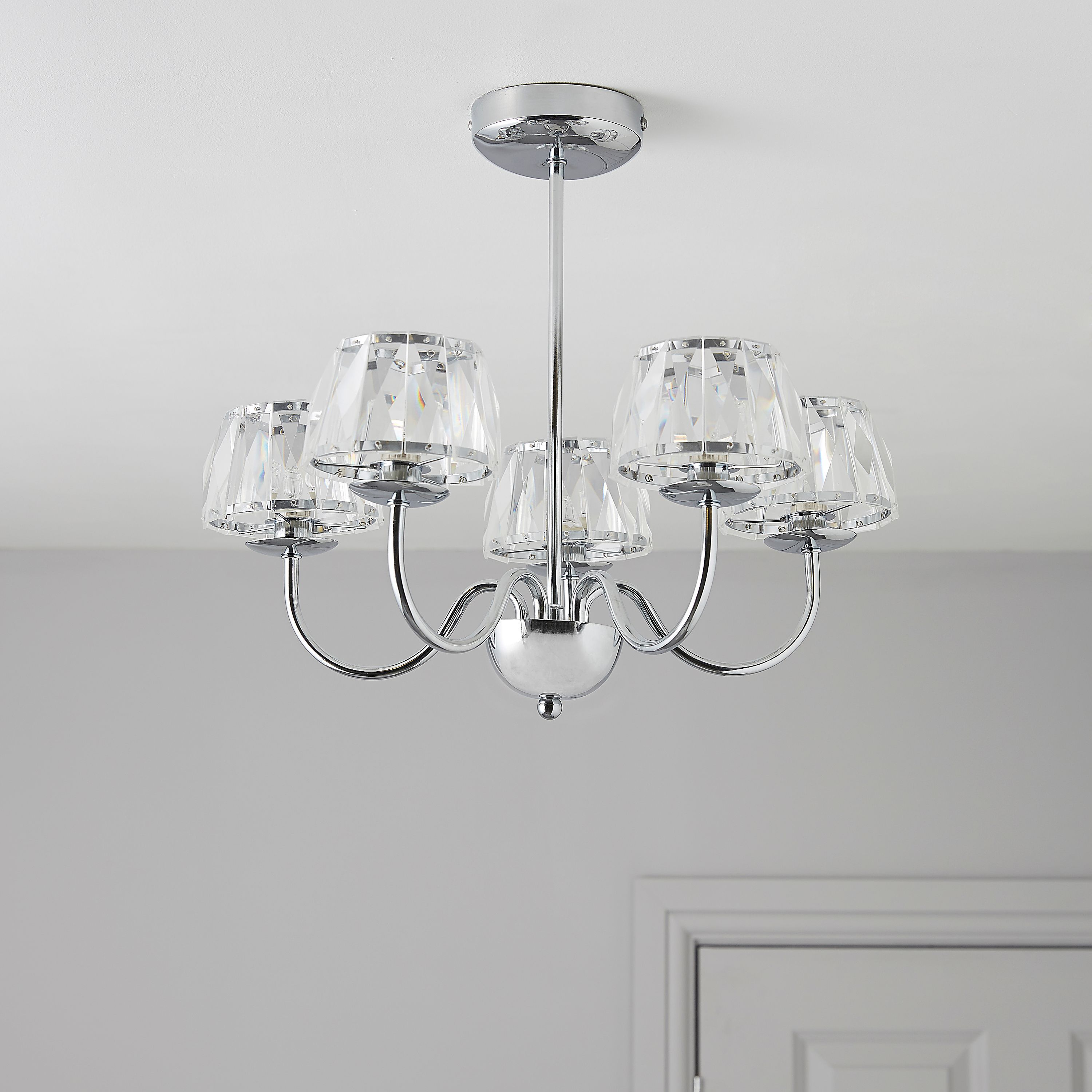 Waldor Faceted Glass Silver Chrome Effect 5 Lamp Ceiling Light ...