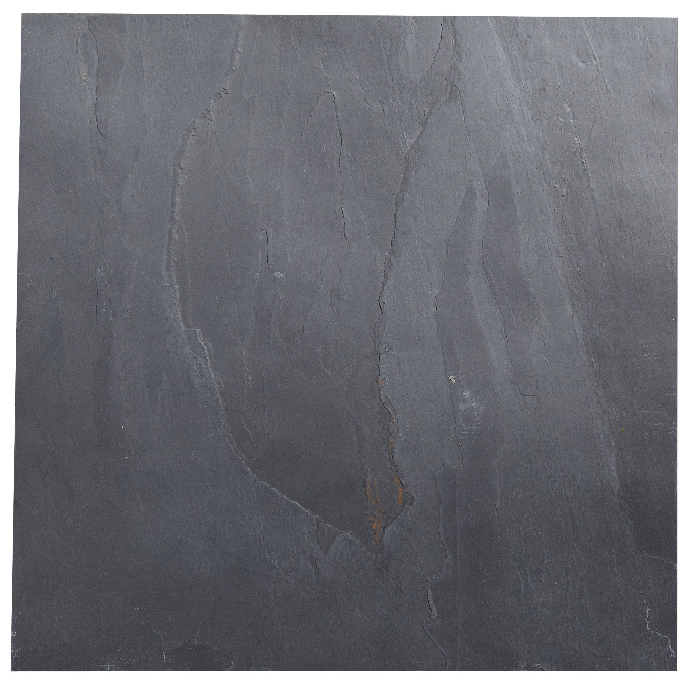 Black Matt Patterned Slate Wall & Floor Tile, Pack Of 5, (l)300mm (w)300mm
